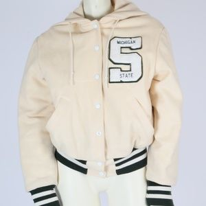 MELVILLE Michigan State Ivory Hooded Zipper Jacket